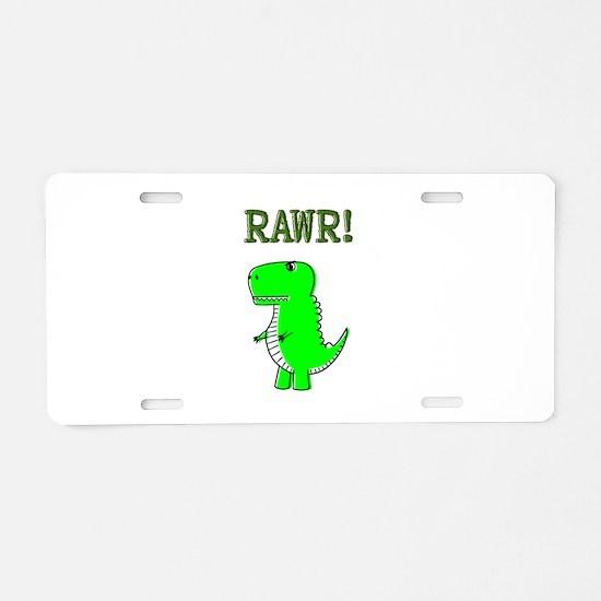 Cute Angry T-Rex RAWR Aluminum License Plate