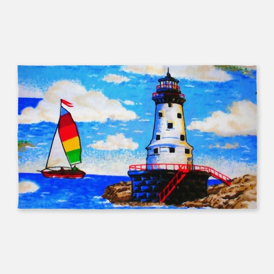 Lighthouse And Sailboat Area Rug