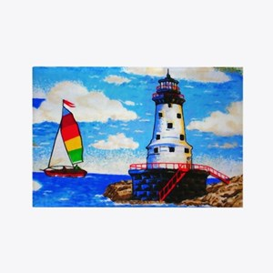 Lighthouse And Sailboat Rectangle Magnet Magnets
