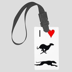 i heart greyhounds Large Luggage Tag