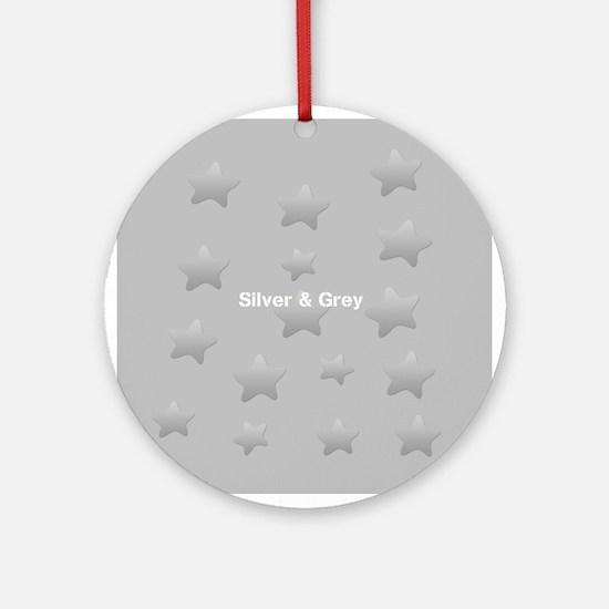 Cool Grey Star Round Ornament