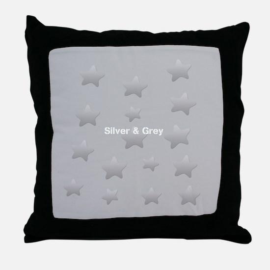 Cool Grey Star Throw Pillow