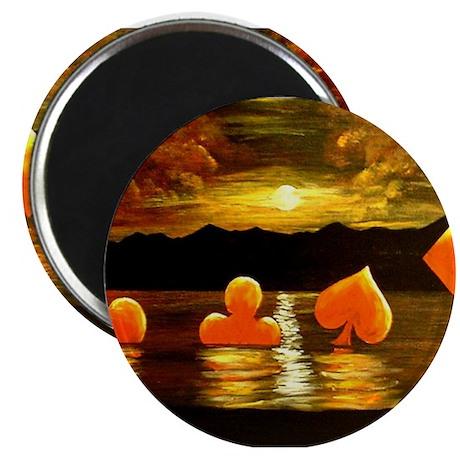 """Unique Poker Art Rising Suits 2.25"""" Magnet (10 pac"""