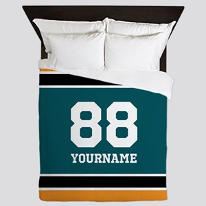 Black Teal Yellow Sports Stripes Perso Queen Duvet