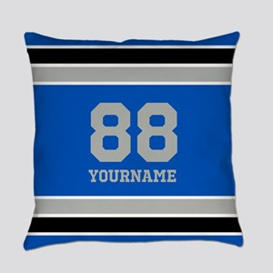 Blue Black Sporty Stripes Personal Everyday Pillow