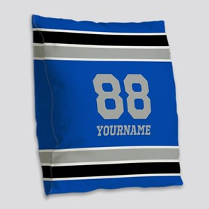 Blue Black Sporty Stripes Pers Burlap Throw Pillow