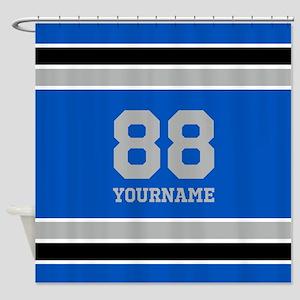 Blue Black Sporty Stripes Personali Shower Curtain