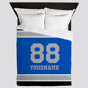Blue Black Sporty Stripes Personalized Queen Duvet
