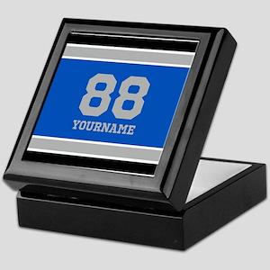 Blue Black Sporty Stripes Personalize Keepsake Box