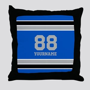 Blue Black Sporty Stripes Personalize Throw Pillow