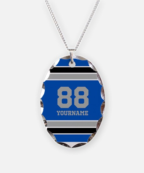 Blue Black Sporty Stripes Pers Necklace