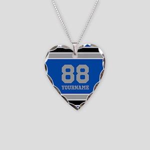 Blue Black Sporty Stripes Per Necklace Heart Charm