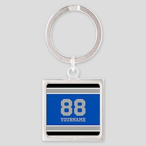 Blue Black Sporty Stripes Personal Square Keychain