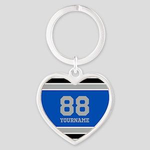 Blue Black Sporty Stripes Personali Heart Keychain