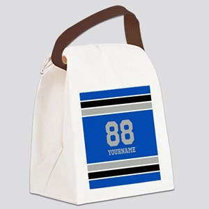 Blue Black Sporty Stripes Persona Canvas Lunch Bag