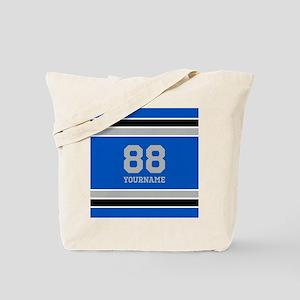 Blue Black Sporty Stripes Personalized Tote Bag