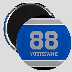 Blue Black Sporty Stripes Personalized Magnet