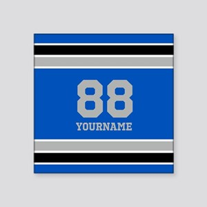 "Blue Black Sporty Stripes P Square Sticker 3"" x 3"""