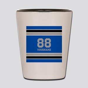 Blue Black Sporty Stripes Personalized Shot Glass