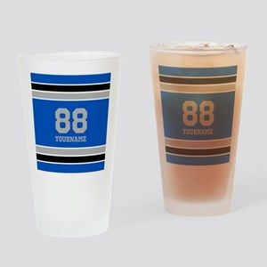 Blue Black Sporty Stripes Personali Drinking Glass