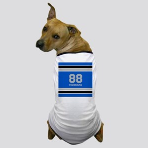 Blue Black Sporty Stripes Personalized Dog T-Shirt