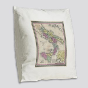 Vintage Map of Southern Italy Burlap Throw Pillow