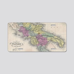 Vintage Map of Southern Ita Aluminum License Plate