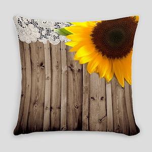 rustic barn yellow sunflower Everyday Pillow