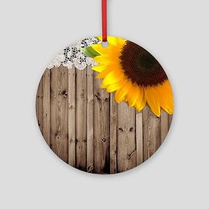 rustic barn yellow sunflower Round Ornament
