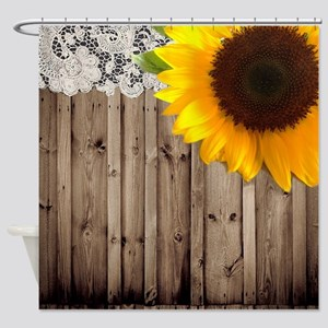 rustic barn yellow sunflower Shower Curtain