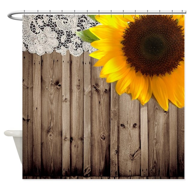 rustic barn yellow sunflower Shower Curtain by listing-store-62325139