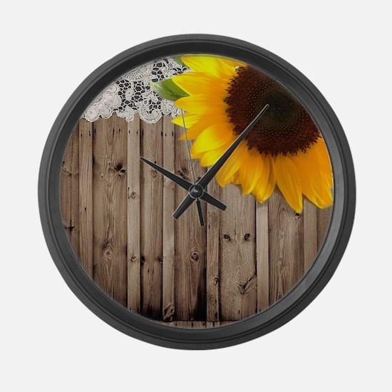 rustic barn yellow sunflower Large Wall Clock