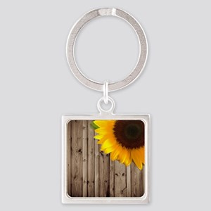 rustic barn yellow sunflower Square Keychain