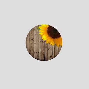 rustic barn yellow sunflower Mini Button
