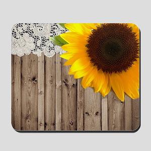 rustic barn yellow sunflower Mousepad