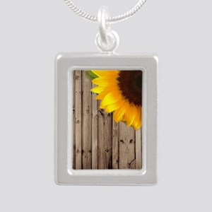 rustic barn yellow sunfl Silver Portrait Necklace