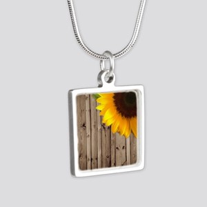 rustic barn yellow sunflow Silver Square Necklace
