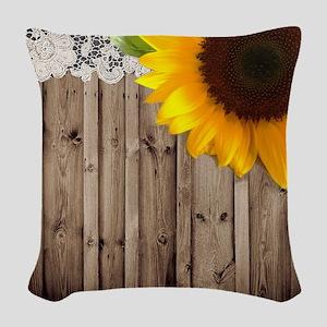 rustic barn yellow sunflower Woven Throw Pillow