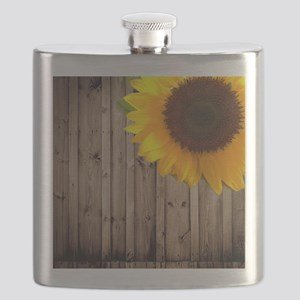 rustic barn yellow sunflower Flask