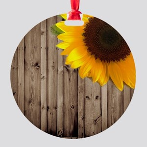 rustic barn yellow sunflower Round Ornament