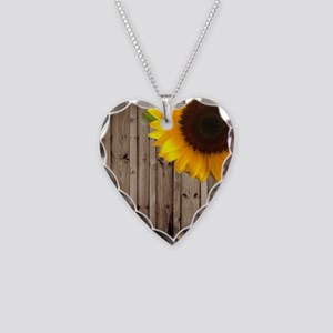 rustic barn yellow sunflower Necklace Heart Charm