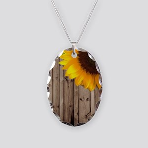 rustic barn yellow sunflower Necklace Oval Charm