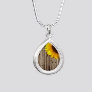 rustic barn yellow sunfl Silver Teardrop Necklace
