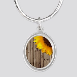rustic barn yellow sunflower Silver Oval Necklace