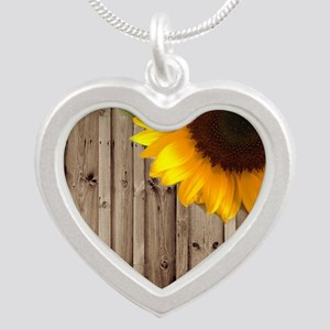 rustic barn yellow sunflower Silver Heart Necklace