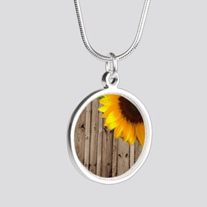 rustic barn yellow sunflower Silver Round Necklace