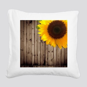 rustic barn yellow sunflower Square Canvas Pillow