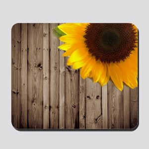 rustic barn yellow sunflower Mousepad
