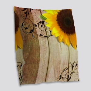 rustic barn yellow sunflower Burlap Throw Pillow