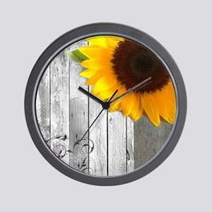sunflower primitive barn board Wall Clock